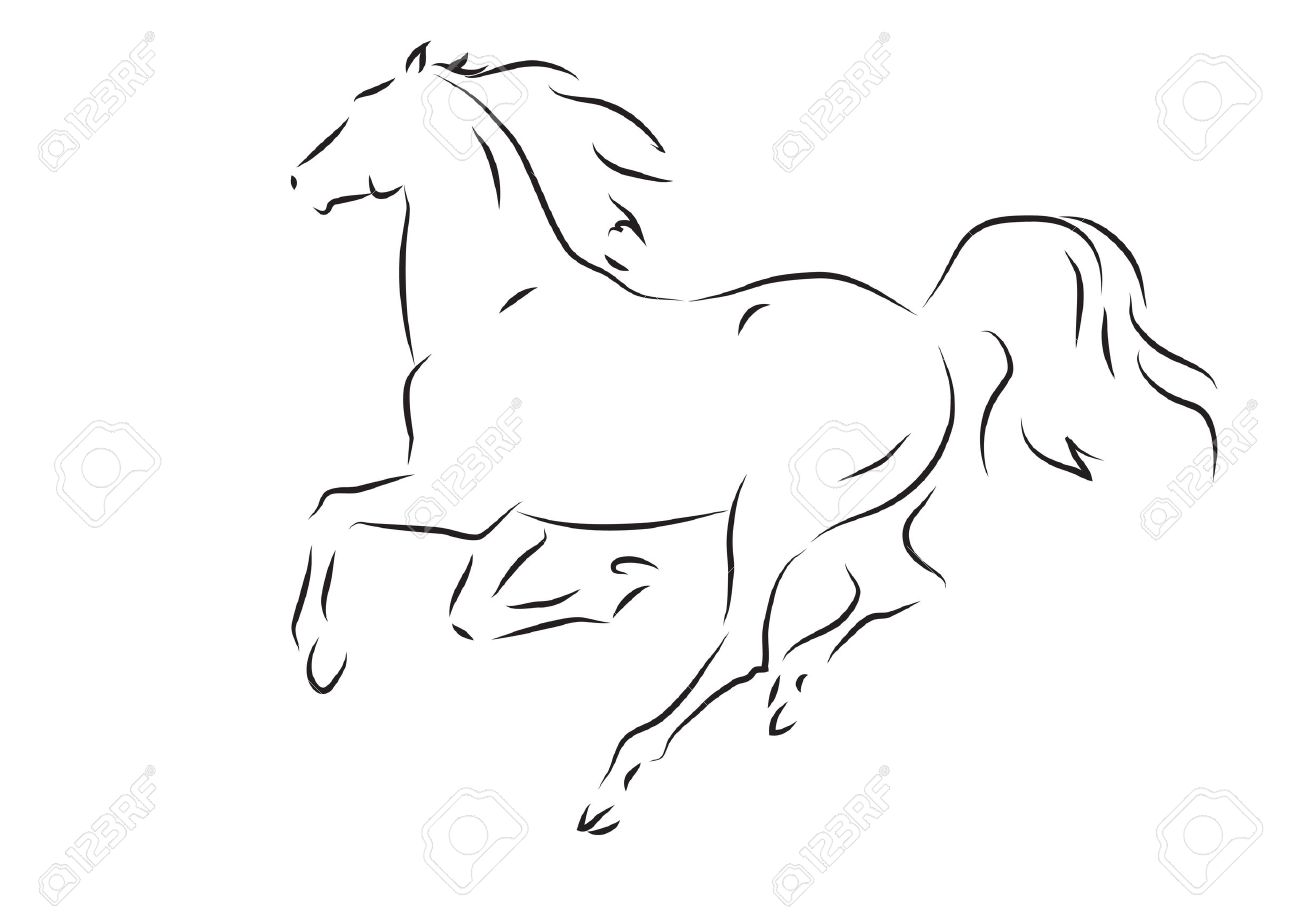 Sketch of silhouette of running horse - vector illustration - 61426204