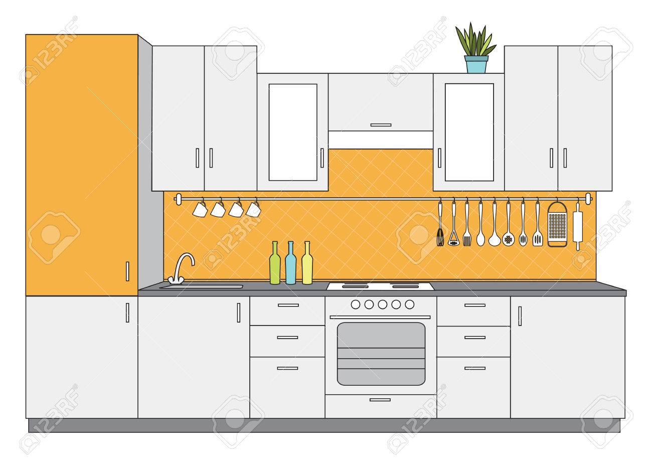 Vektorillustration Der Kleinen Vorderansicht Der Küchenarchitektur ...