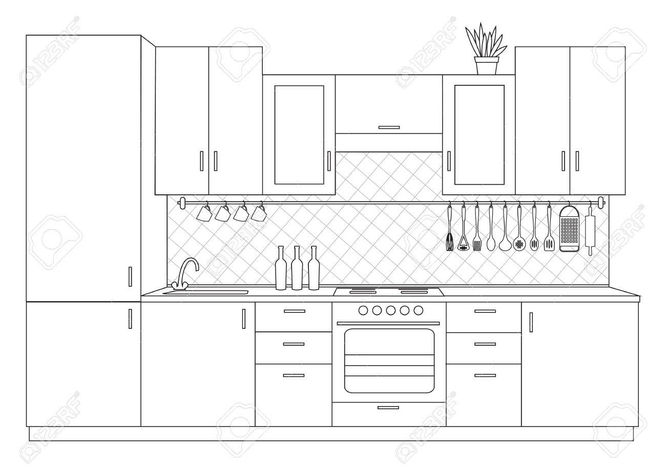 Architectural sketch linear interior small kitchen front view - 64500270