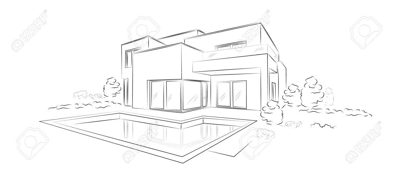 modern architecture sketch. Linear Architectural Sketch Modern Detached House Stock Vector - 79981582 Architecture