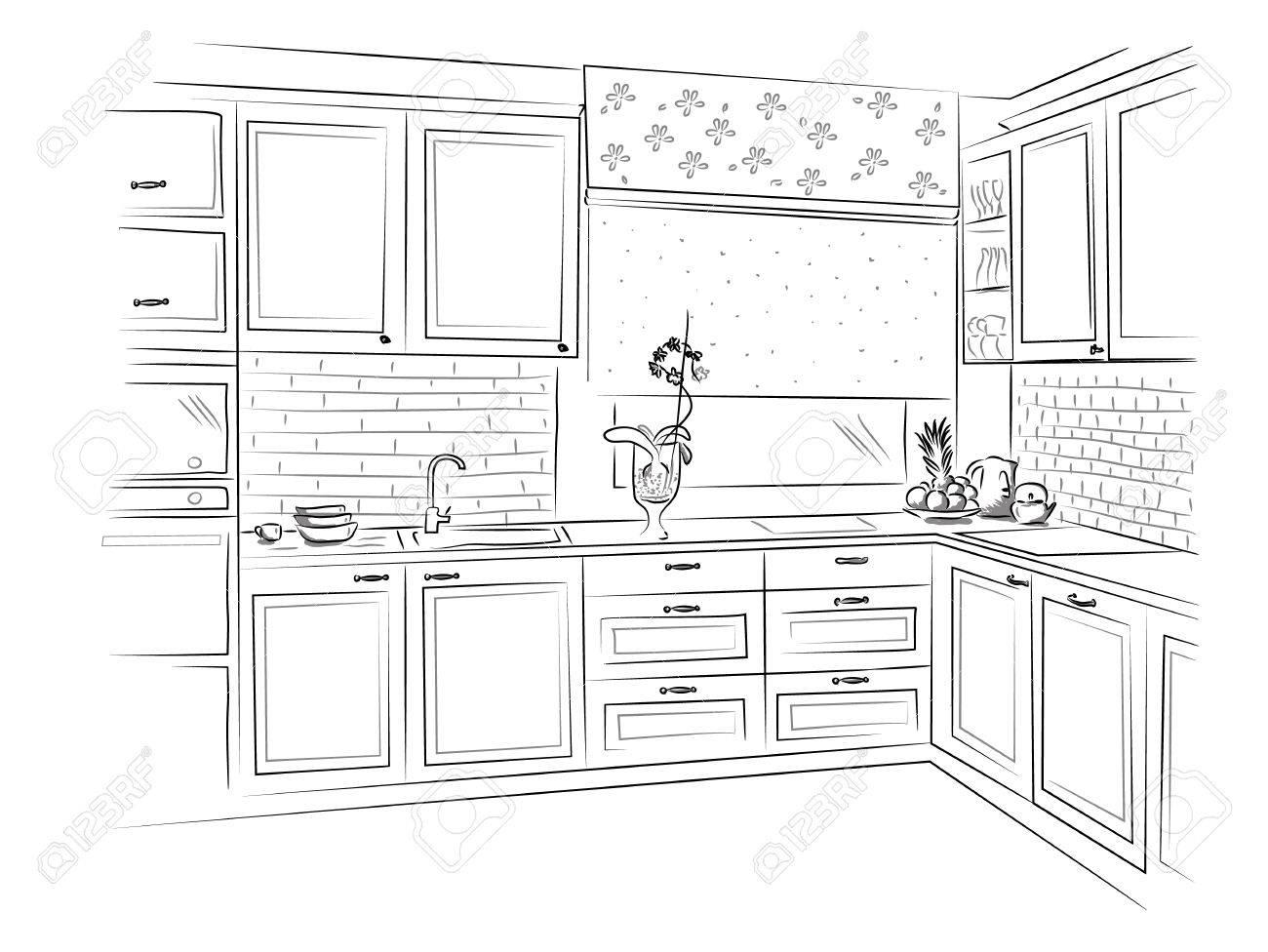 Hand gezeichnet Küche Interieur Design Skizze. Vektor-Illustration