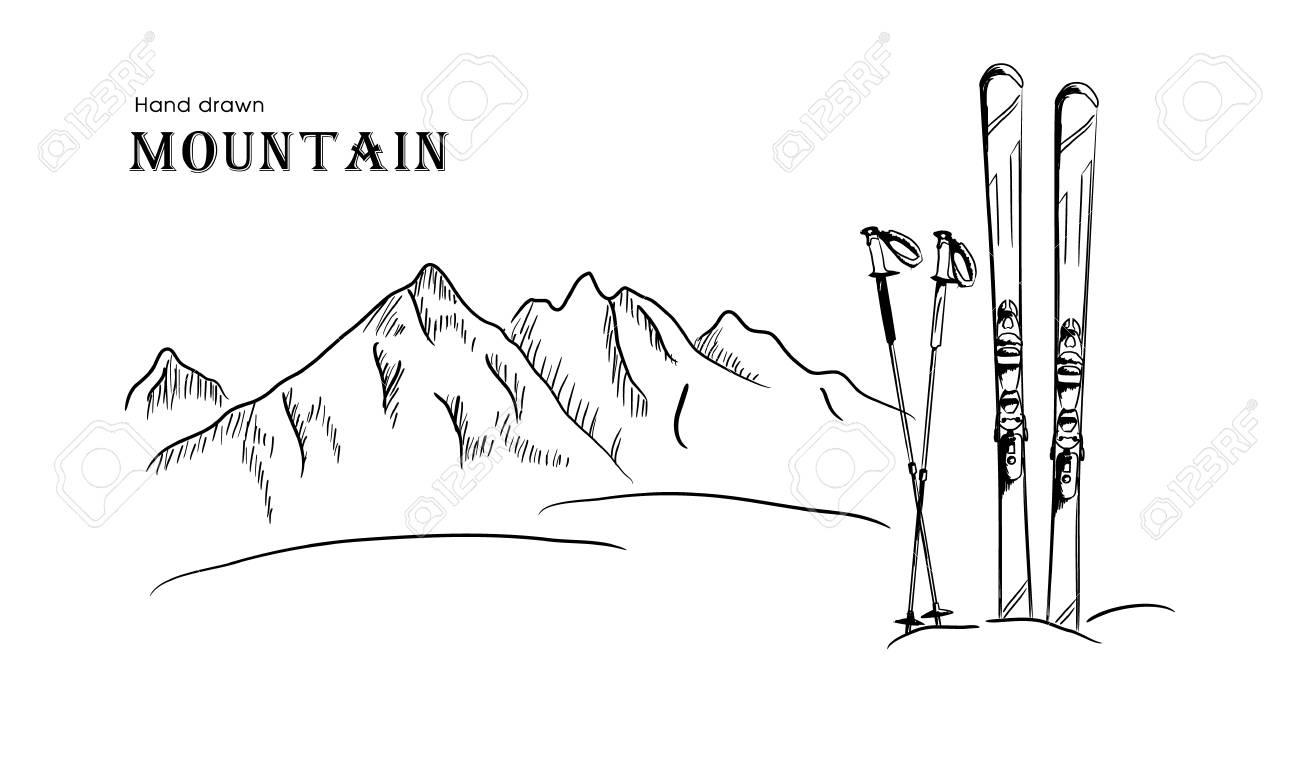 Hand Drawn Mountain And Ski Graphic Black White Landscape Vector