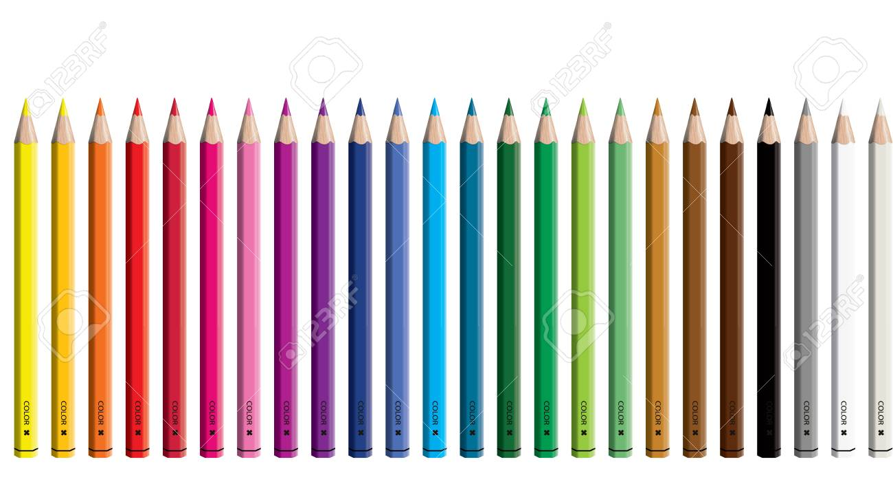 Set of colored pencil collection - Craynos on white background. - 111411155