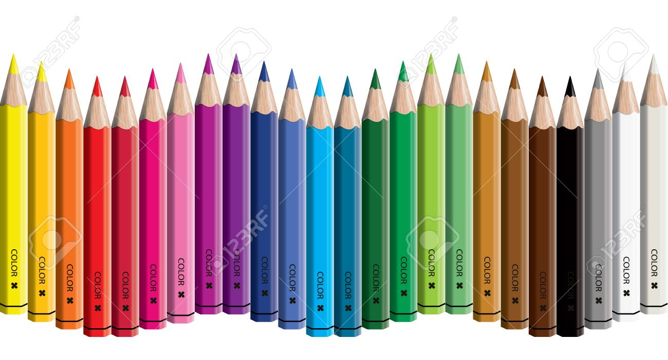 Set of colored pencil collection wave arranged - vector illustration craynos on white background. - 111411159