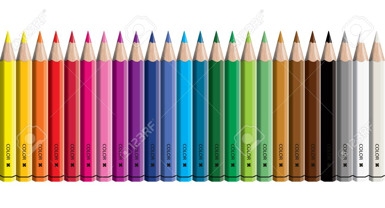 Set of colored pencil collection - Craynos on white background. - 111411162