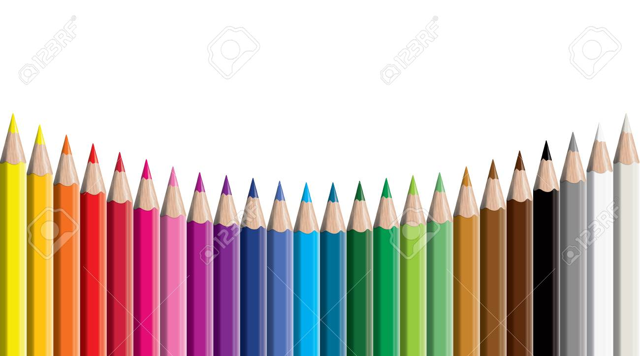 Set of colored pencil collection - Craynos on white background. - 111411163