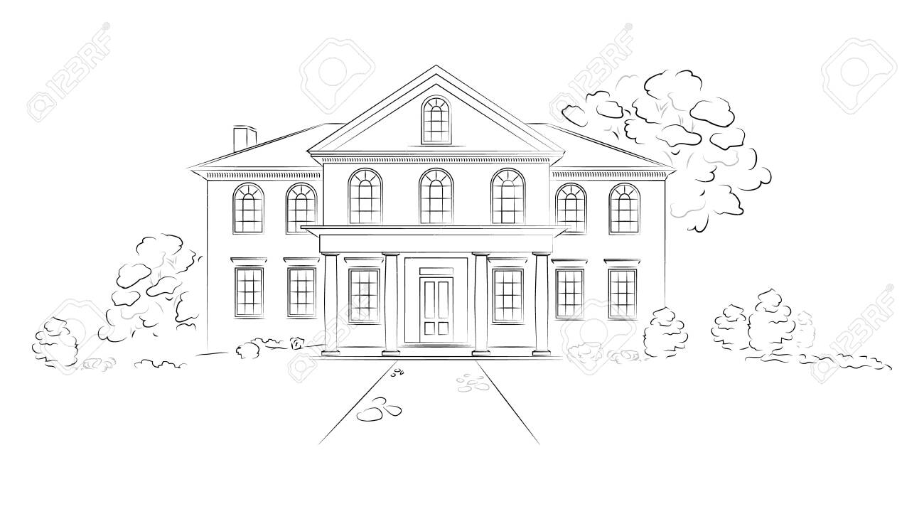 Linear architectural sketch modern detached house. Project of big residence or hotel on white background. - 138640230