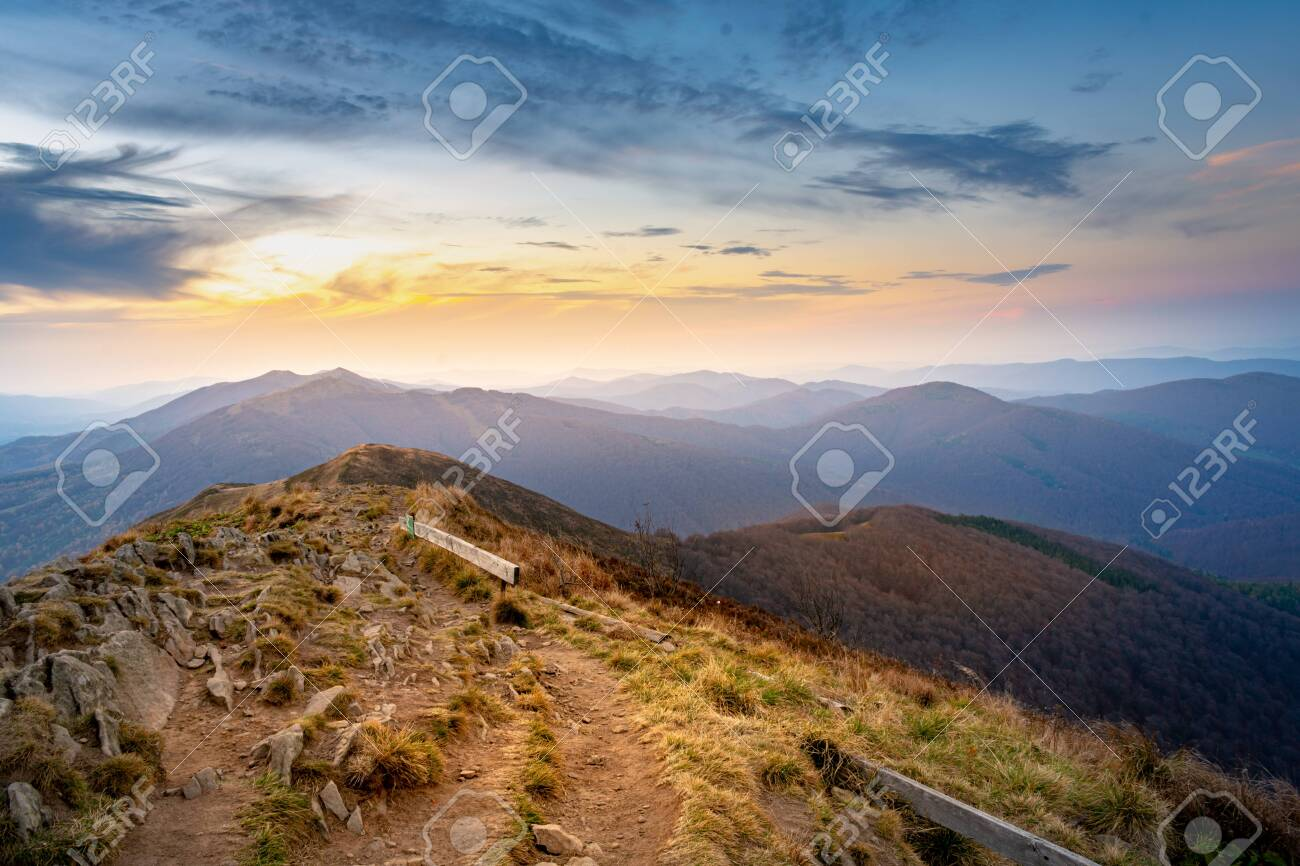 sunset in the mountains. Bieszczady National Park - Poland. - 142837708