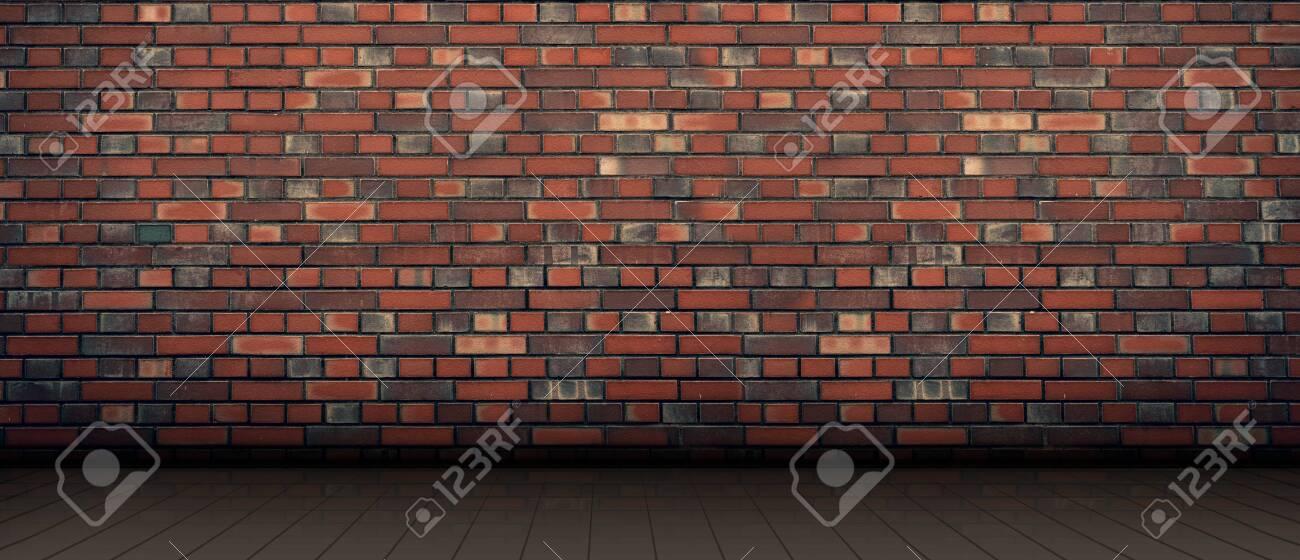 red brick wall background. wooden light floor - 142837712