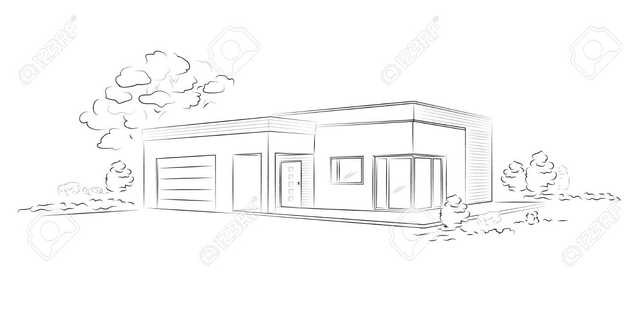 Vector linear architectural sketch modern detached house. - 148862107