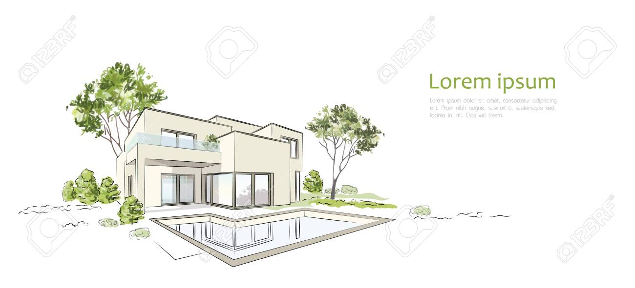 Vector architectural sketch modern exclusive house. - 148904998