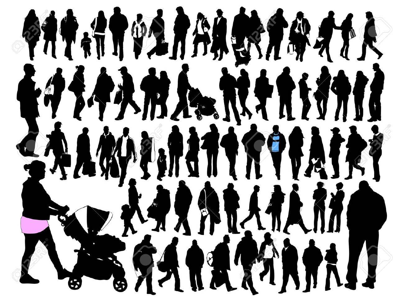 people, silhouette, set Stock Vector - 16082565