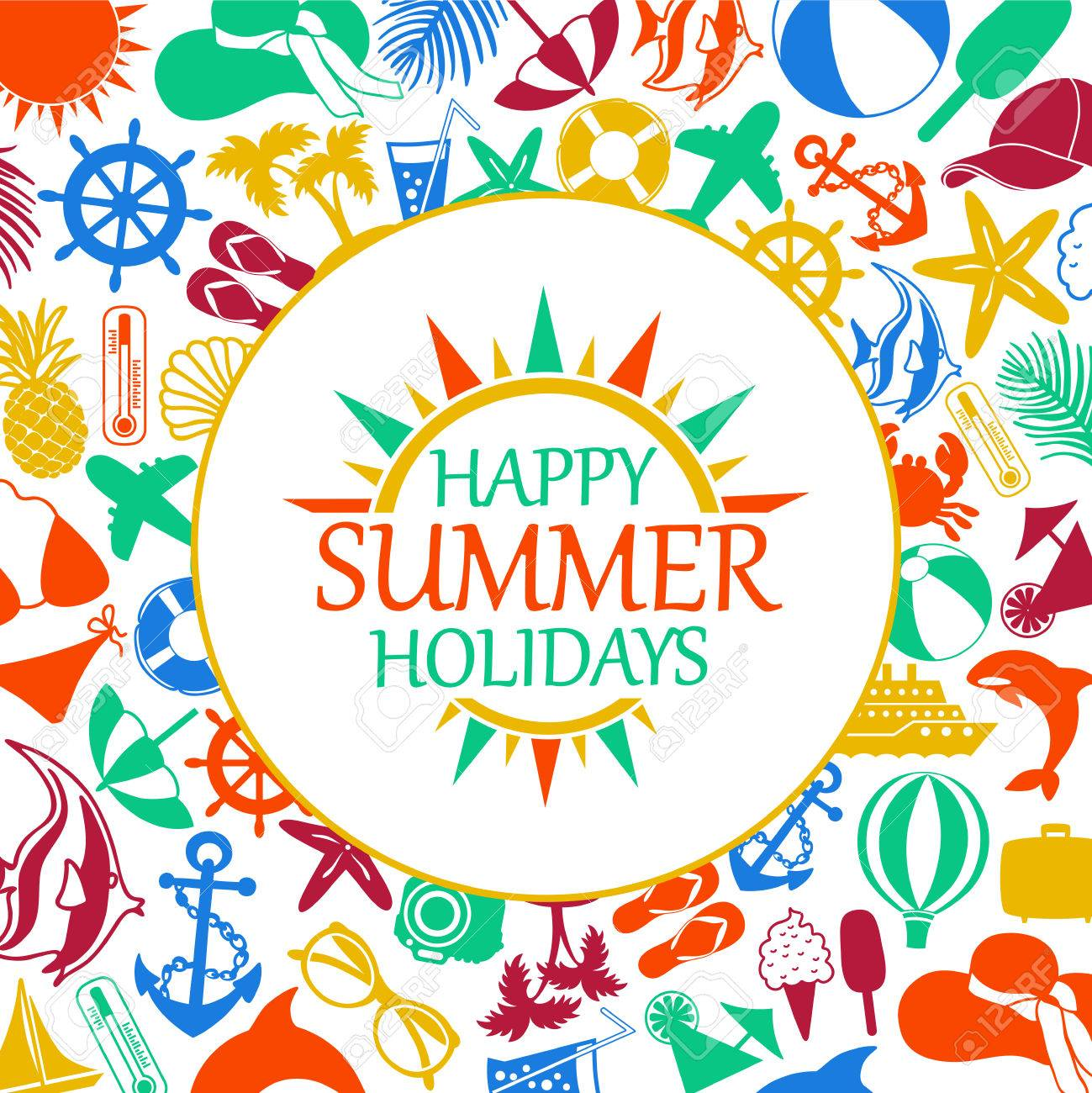 Happy Summer Holiday Colored Icons On A White Background Stock Vector