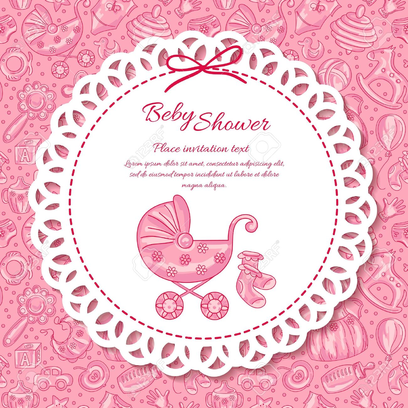 Baby shower greeting card for baby girl seamless pattern baby baby shower greeting card for baby girl seamless pattern baby icons stock vector kristyandbryce Image collections