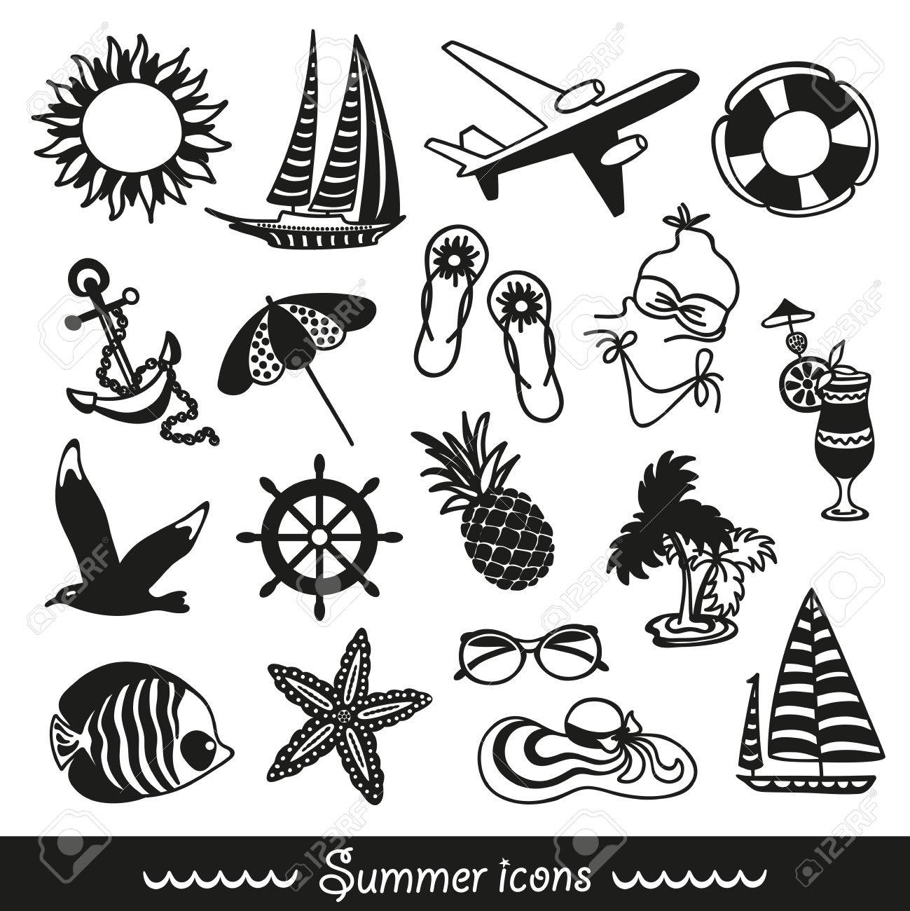 Black And White Summer Icons Symbolizing Vacation Travel Stock Vector