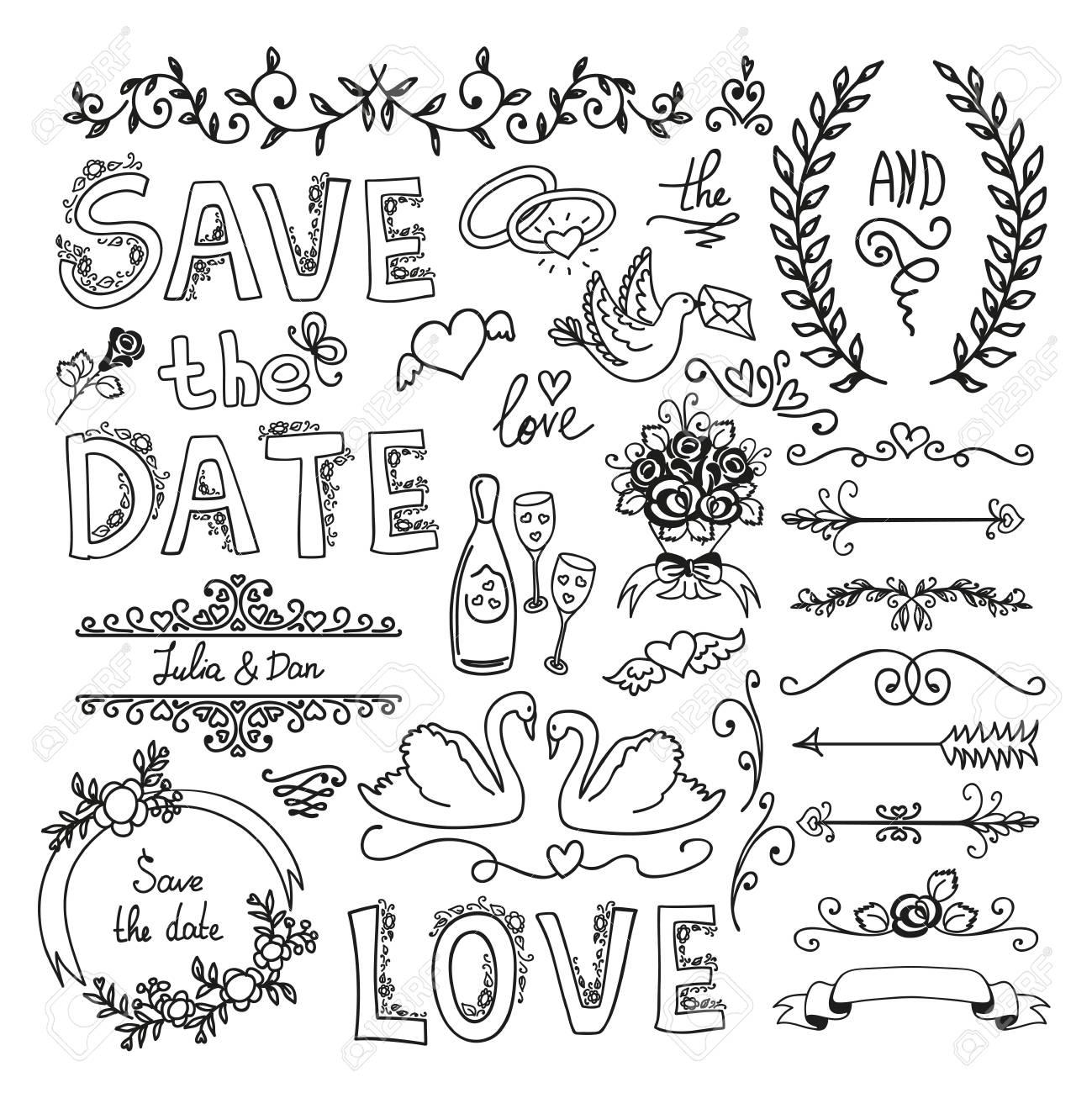 Set of wedding ornaments and decorative elements royalty free set of wedding ornaments and decorative elements stock vector 41664694 junglespirit Choice Image