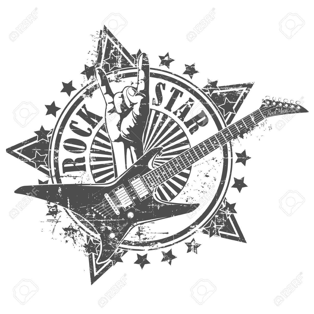 The vector image of Rock star stamp - 38622612