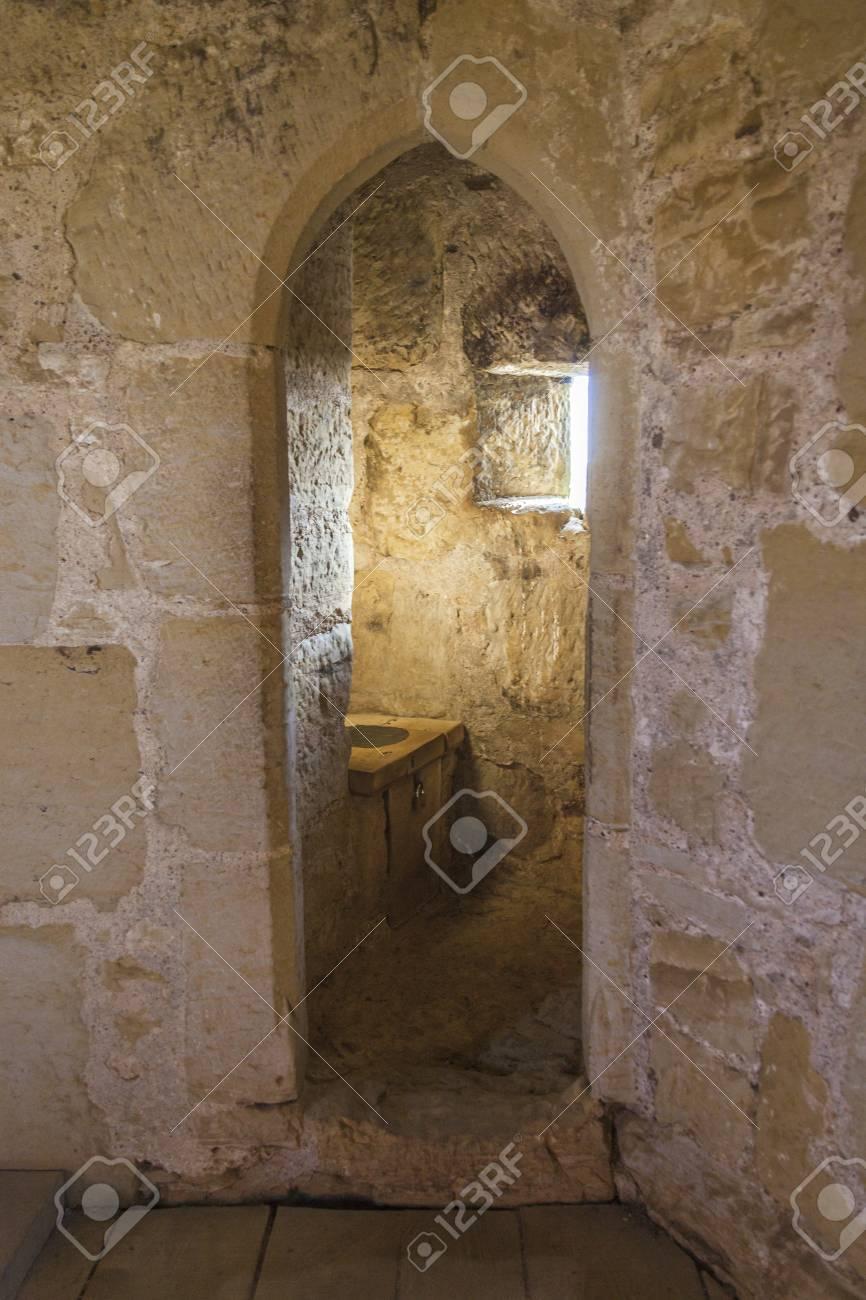 Medieval Toilet Inside Ruins Of Bodiam Castle Stock Photo