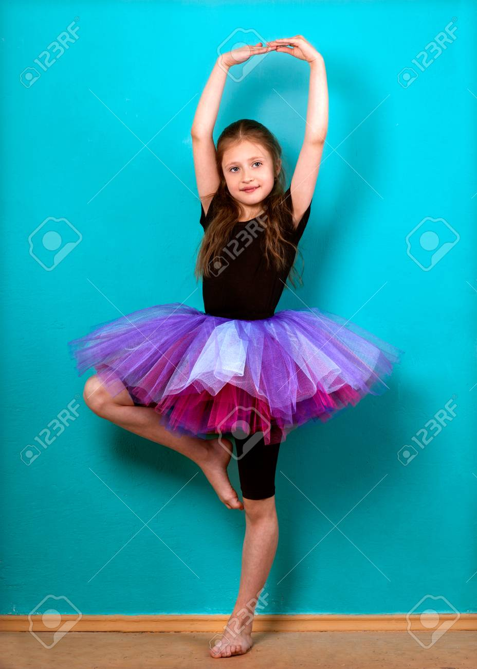 1f587d0f6 Little Girl Dreams Of Becoming Ballerina In A Tutu Skirt Violet ...