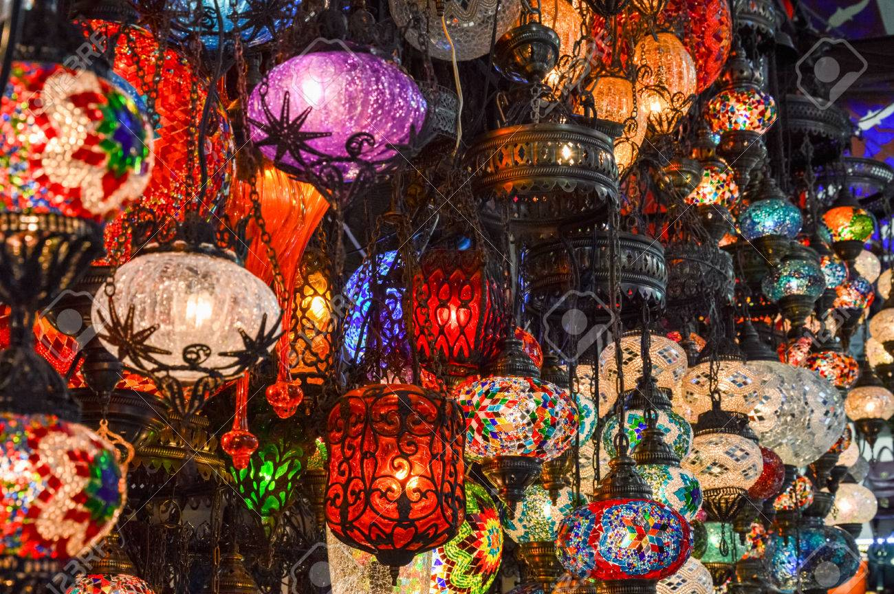 Stock Photo Turkish Decorative Lamps For Sale On Grand Bazaar At Istanbul Turkey