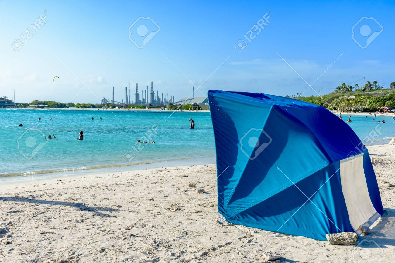 7b86e6bf4fa9c A Parasol At Baby Beach, Aruba. Stock Photo, Picture And Royalty ...