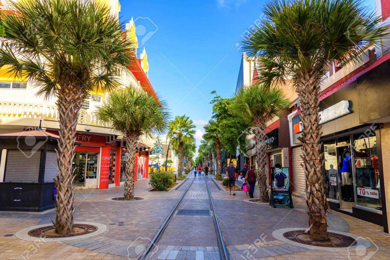 Oranjestad, Aruba - January 8, 2018: View Of The Main Street.. Stock Photo,  Picture And Royalty Free Image. Image 101512152.