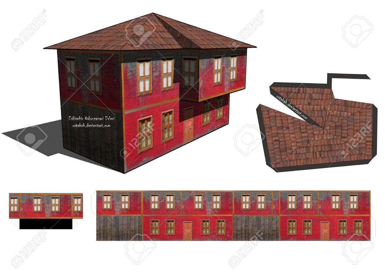 picture regarding Free Printable Model Buildings known as 3D Printable Paper Craft Outdated Home