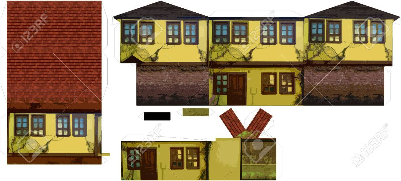 photo about Printable House known as 3D Printable Paper Craft Aged Household