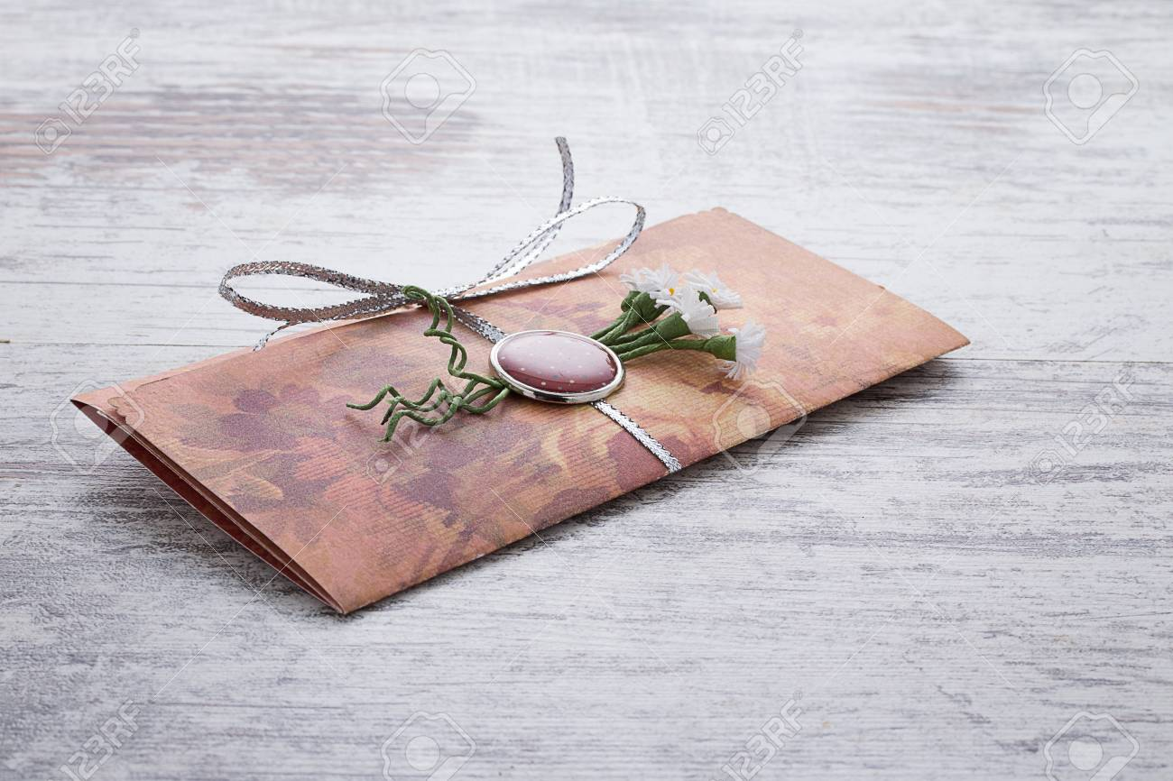 Handmade Wedding Invitations Made Of Paper Pver Wooden Vintage ...