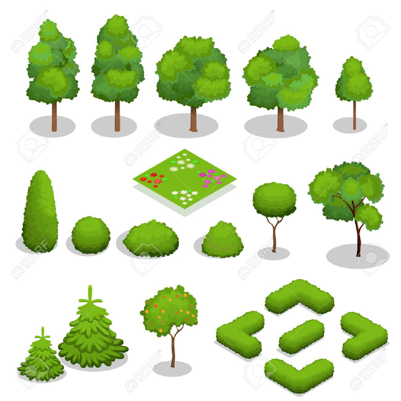 Isometric trees elements for landscape design. green trees and bushes isolated on white - 51237379