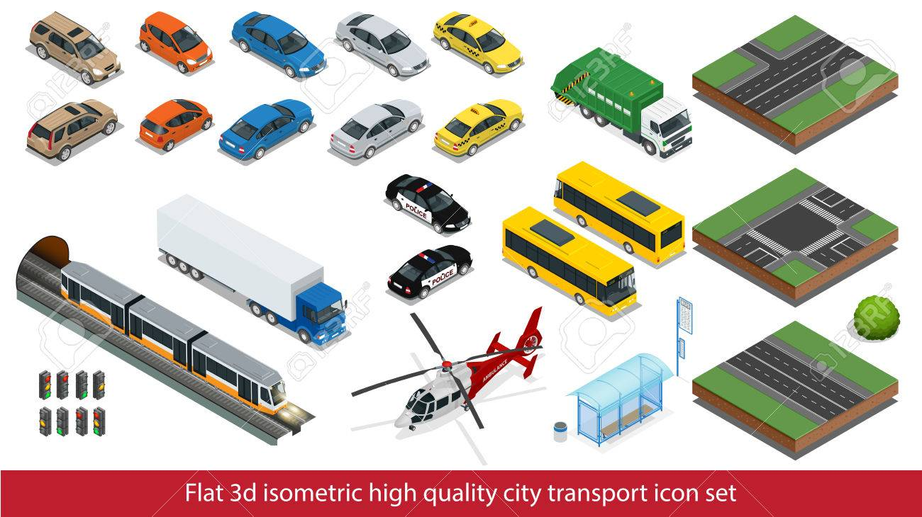 Isometric high quality city transport icon set Vector isometric illustration - 51892688