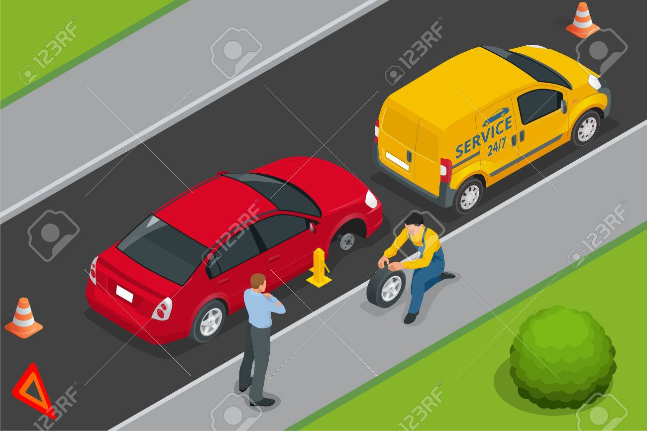 Roadside Assistance Car. Man Changing Wheel On A Roadside. Auto ...