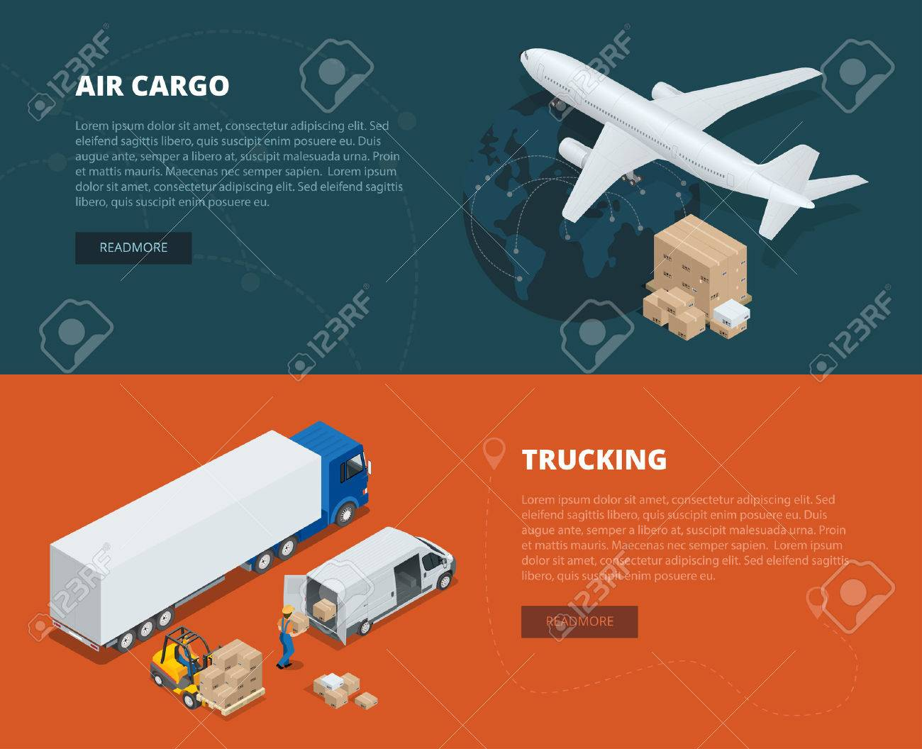 Logistic concept flat banners of air cargo, trucking. On-time delivery. Delivery and logistic Vector isometric illustration Vehicles designed to carry large numbers of cargo. Global logistics network - 52362248