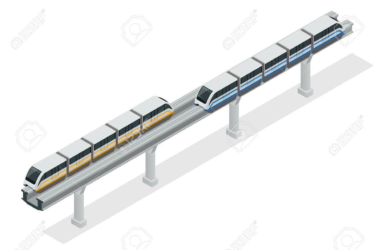 Vehicles designed to carry large numbers of passengers. Isolated vector of modern high speed train - 52425159