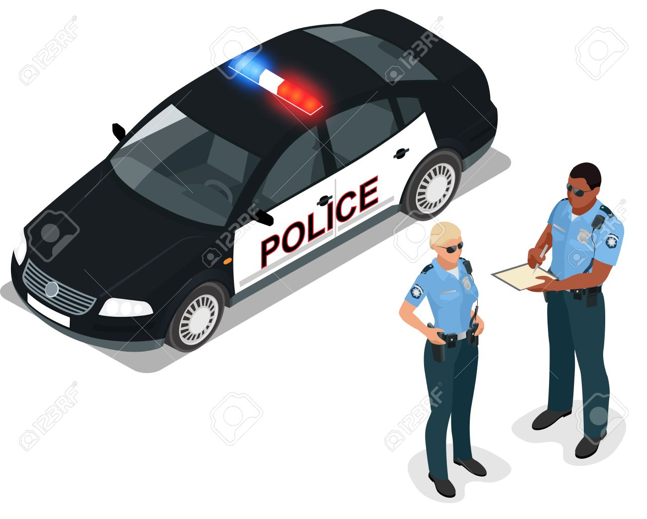 Flat 3d Isometric Illustration Police Car And Policeman. Isolated ...