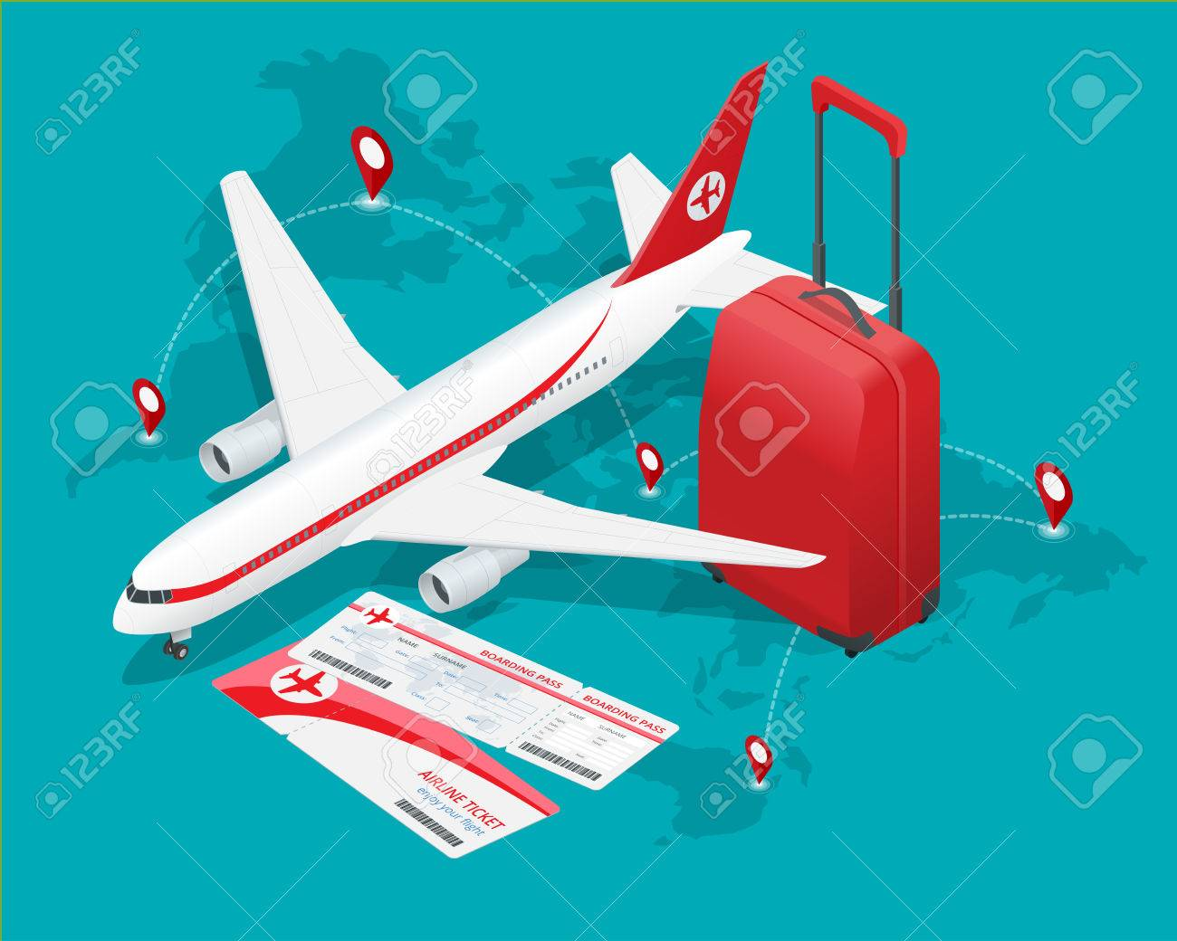 Travel isometric composition. Travel and tourism background. Flat 3d Vector illustration. Travel banner design. - 54104376