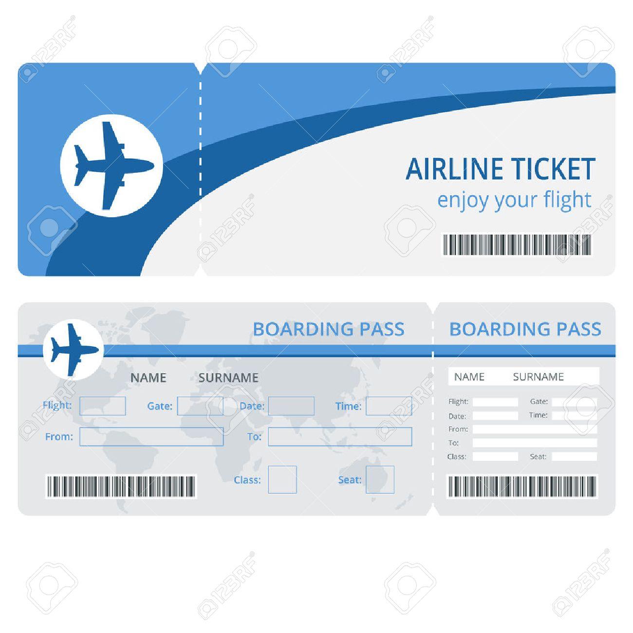飛行機チケットのデザイン。飛行機チケットのベクトル。空の飛行機の