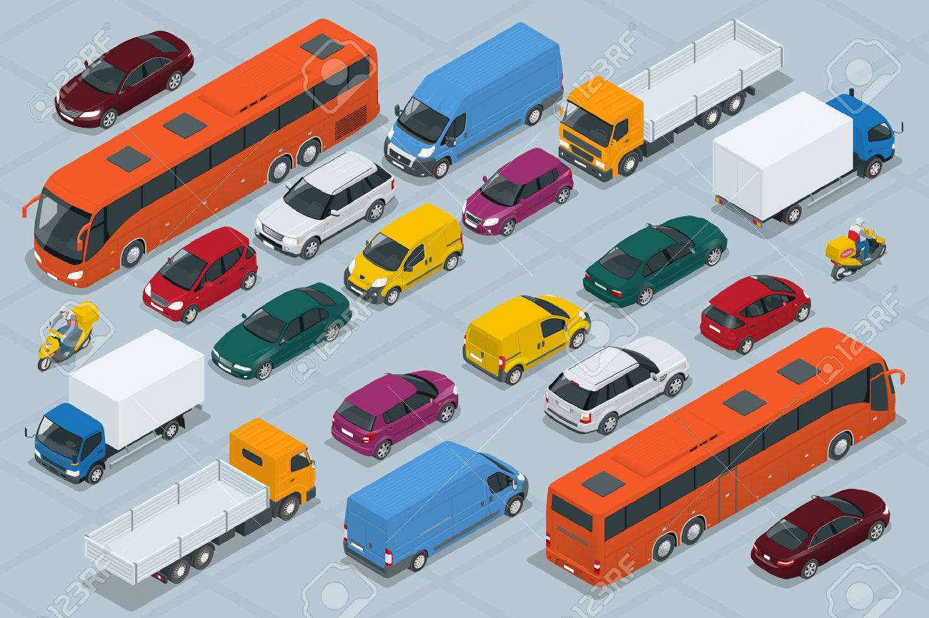 Car icons. Flat 3d isometric high quality city transport car icon set. Car, van, cargo truck, off-road, bus, scooter, motorbike, riders. Set of urban public and freight transport - 54106661
