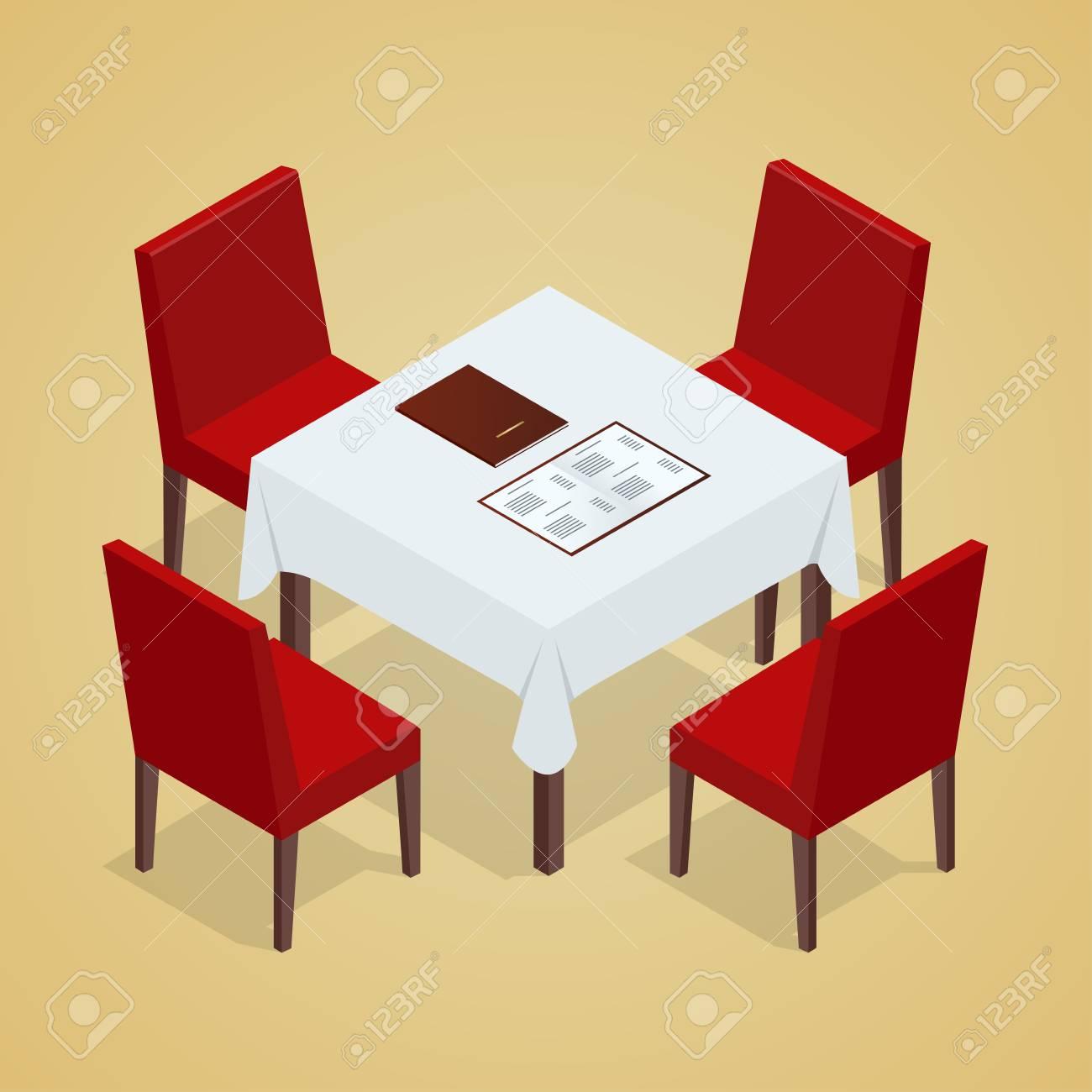 Vettoriale - Tavolo Con Sedie Per Caffè. Tavolo Moderno E Sedie Su ...