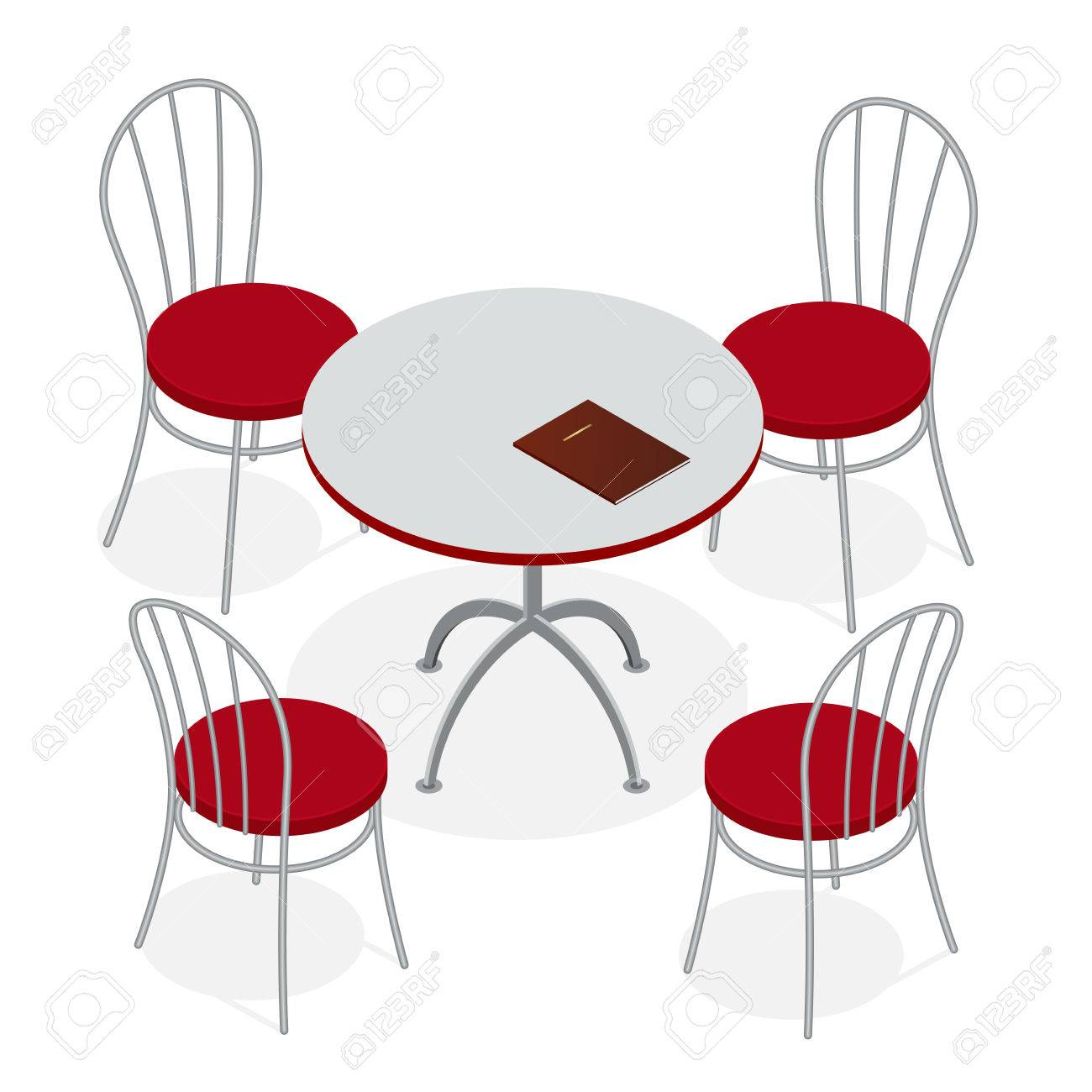 Table With Chairs For Cafes Modern Table And Chairs On White Royalty Free Cliparts Vectors And Stock Illustration Image 54106669
