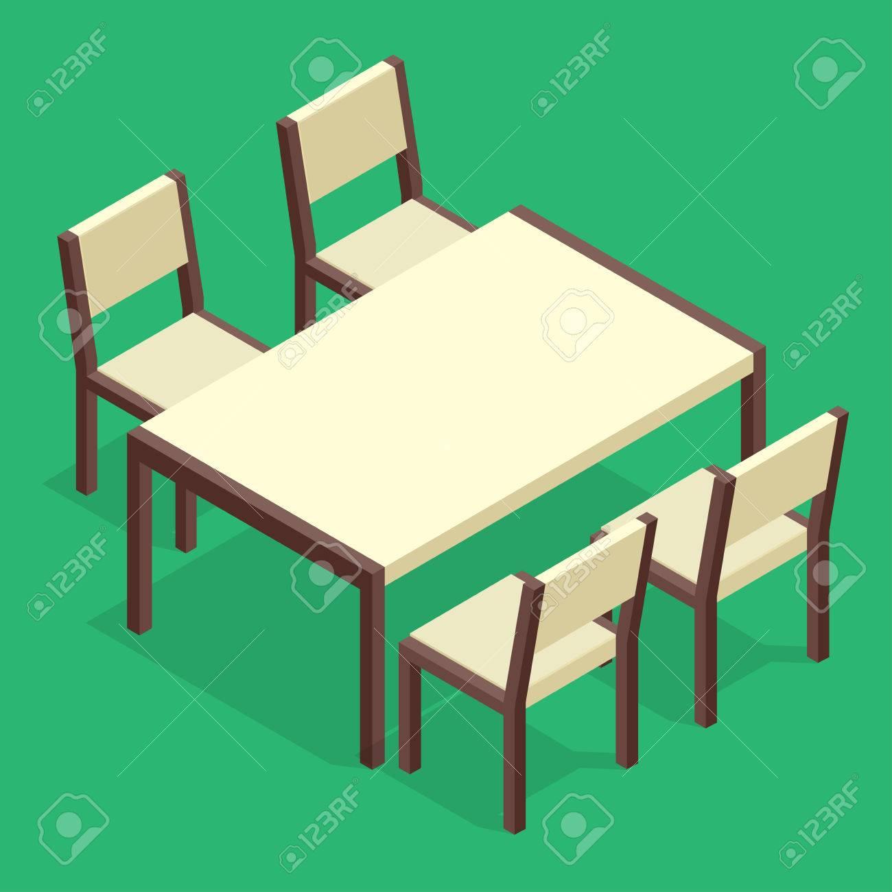 Vettoriale Tavolo In Legno Con Sedie Per Caffe Tavolo Moderno E Sedie Su Sfondo Bianco Piatto 3d Isometrico Illustrazione Vettoriale Image 54106671