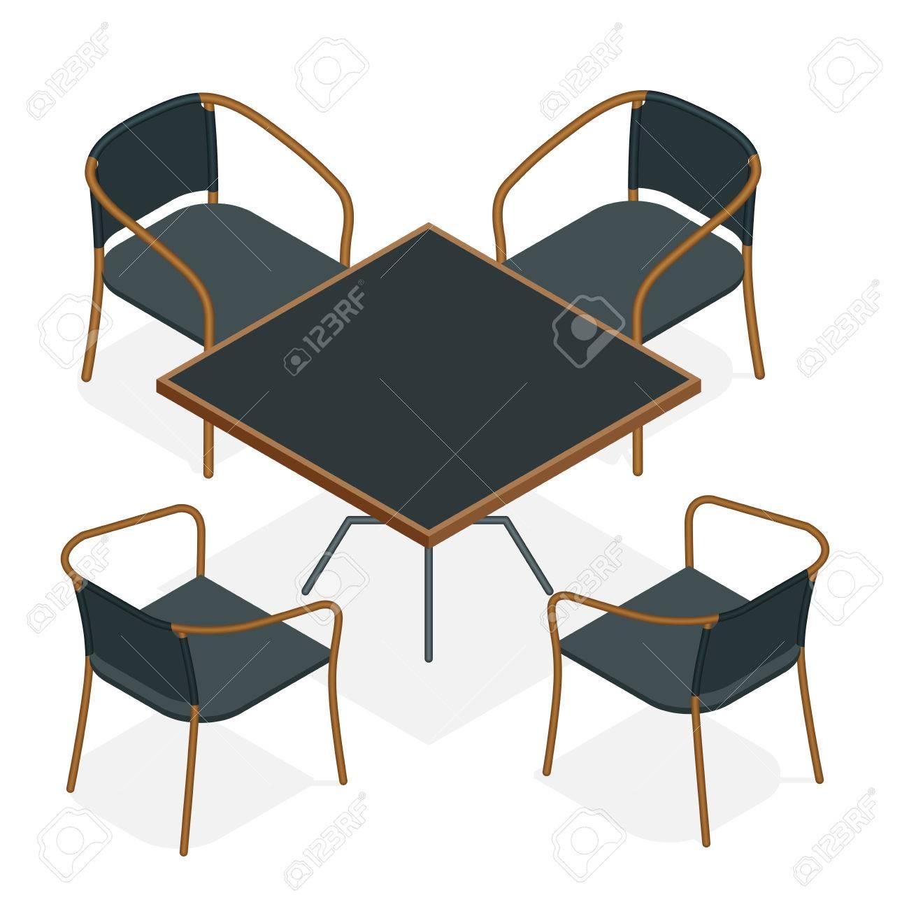 Table Avec Des Chaises Pour Les Cafs Moderne Et Sur