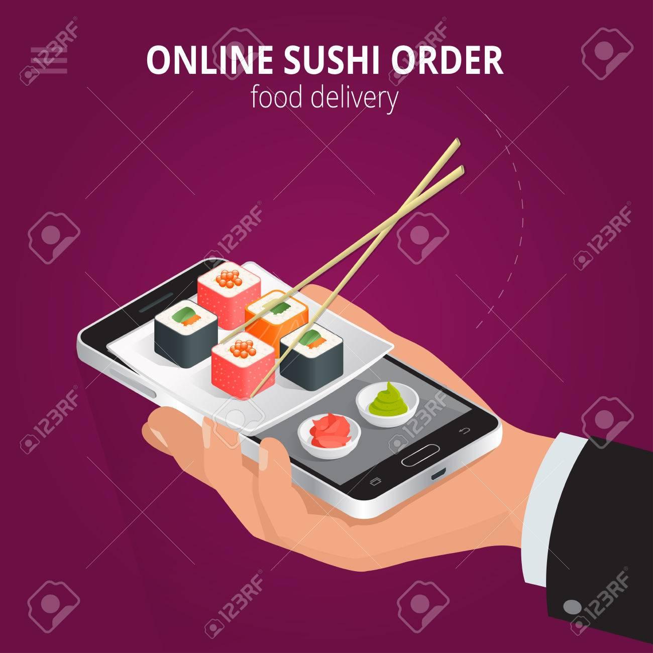 Online Sushi Ecommerce Concept Order Food Online Website Fast