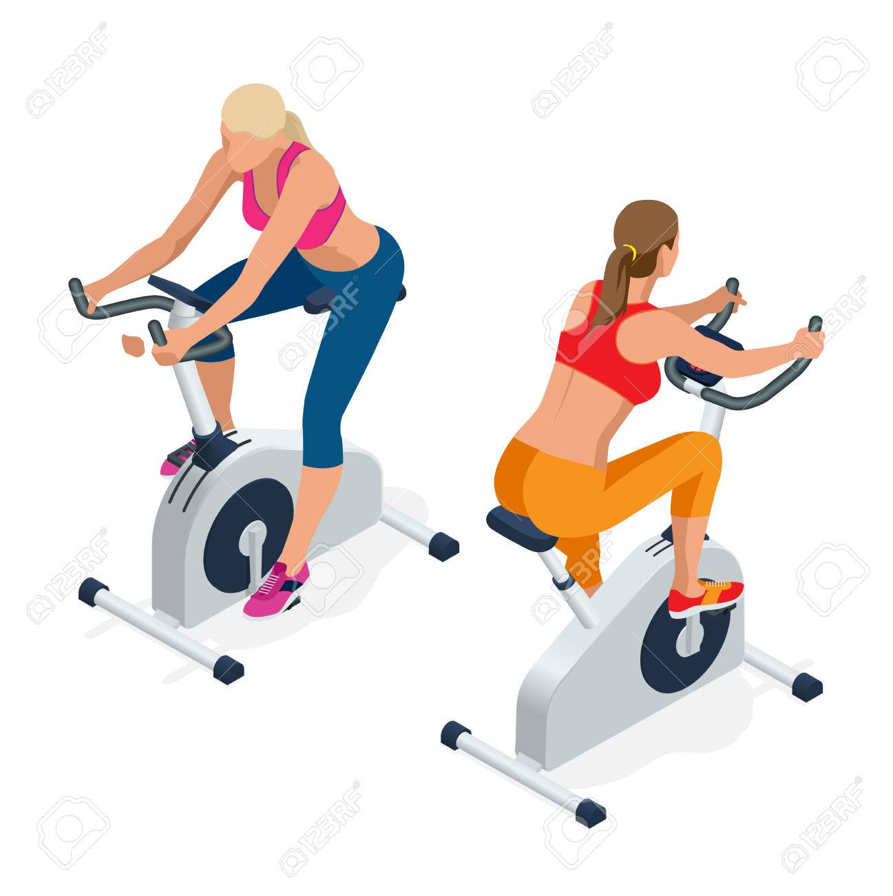 Fitness Woman Working Out On Exercise Bike At The Gym Isolated