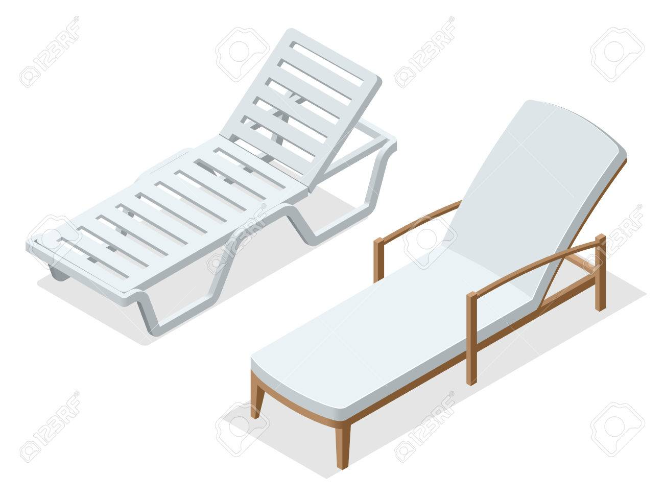 Merveilleux Beach Chairs Isolated On White Background. Wooden Beach Chaise Longue Flat  3d Isometric Vector Illustration