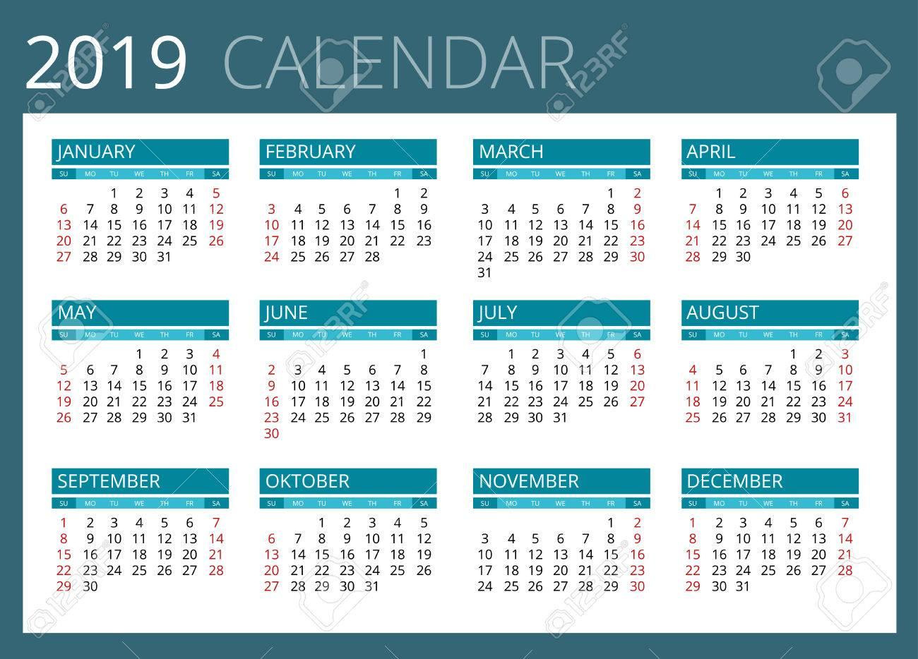 Calendario 2019 Week Number.Calendar For 2019 Week Starts Sunday Simple Vector Design