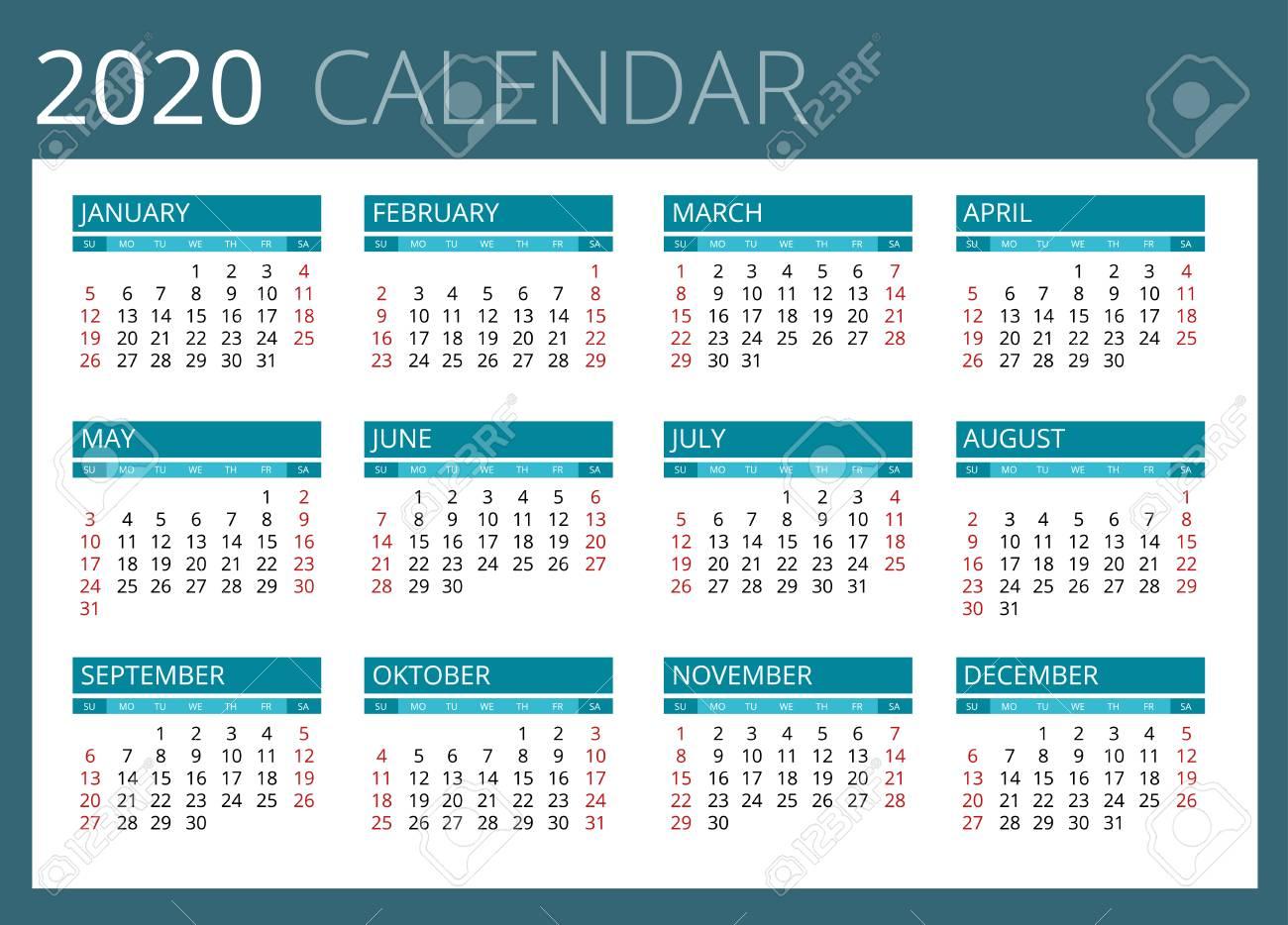 Calendario 2020 Portugues Com Feriados.Calendario Para El Ano 2020 La Semana Comienza El Domingo El Diseno Simple Del Vector