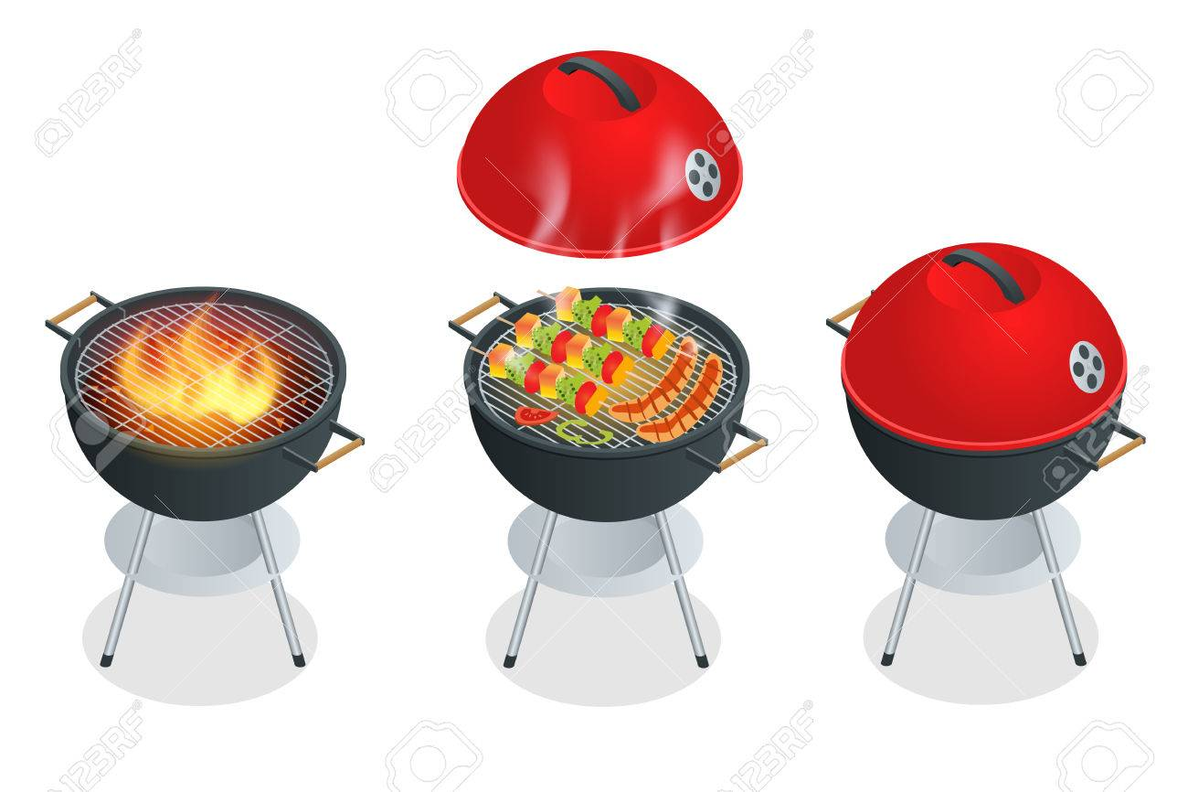 Barbecue design elements and barbecue grill summer food. Flat 3d vector isometric illustration - 58367013