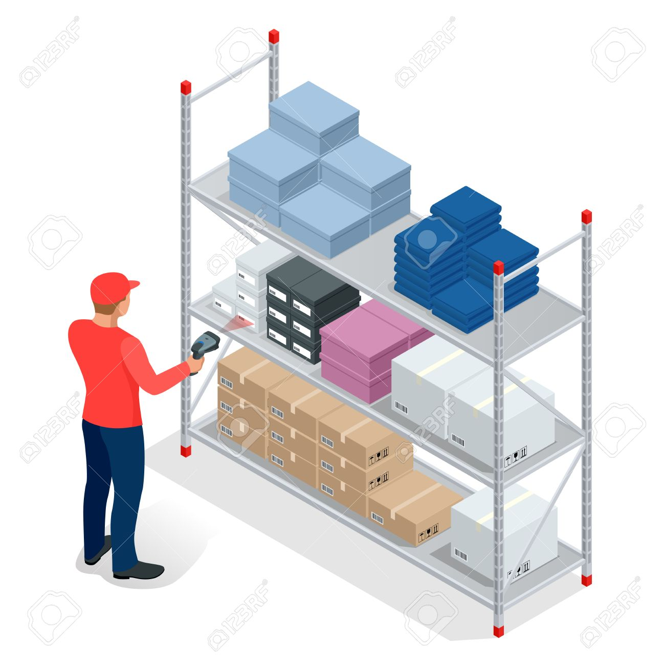 Warehouse manager or warehouse worker with bar code scanner checking goods on storage racks. Stock taking job. Flat 3d vector isometric illustration - 58367201