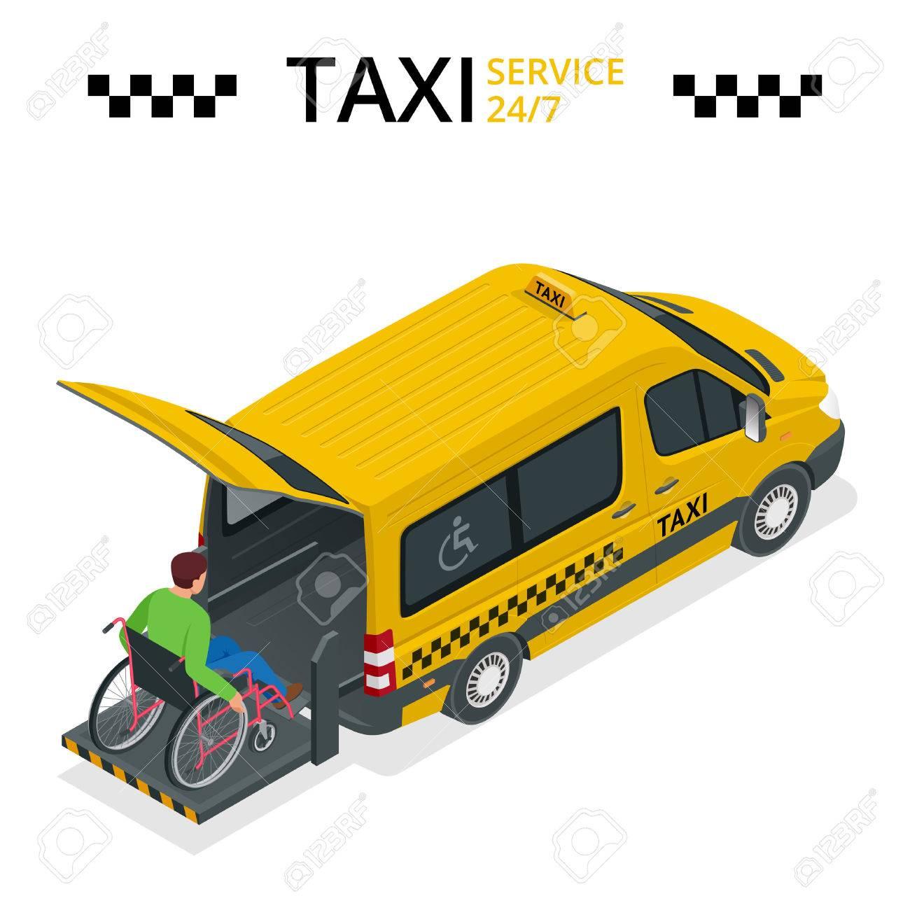 Minibús para las personas con discapacidad física. Taxi o coche para hombre en silla de ruedas. Vehículo con ascensor. Piso 3d ilustración isométrica